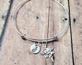 RN initial bangle - RN jewelry, medical jewelry, nursing jewelry, caduceus bangle, silver RN pendant, nurse gift, registered nurse bangle
