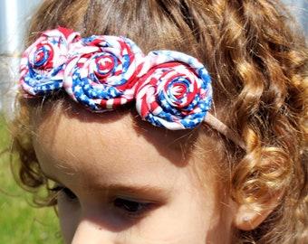 Patriotic Rosette Headband, 4th of July, girls headband, baby headband, red, white, blue, memorial day, summer, girls accessories, flag