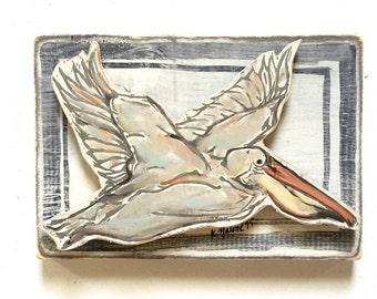 2D Pelican: Wood Sign, New Orleans Art, New Orleans Gift, Pelican Art, Animal Art, Kitchen Art, Home Bar Art, Louisiana