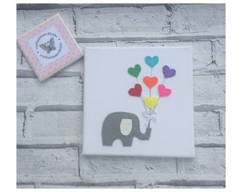 Elephant canvas picture baby shower, nursery picture, new baby gift, nursery decor