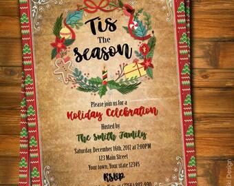 Christmas Invitation, Christmas Party Invitation, New Year Party Invitation, Holiday Party Invites, Christmas Party Invitation for Adult C1