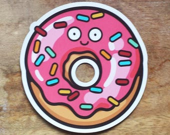 "Donut Magnet / Donut Magnets / Happy Donut / Sprinkles / Food Magnet / Die-cut Magnet / Fridge Magnet (2.93"" x 3"")"