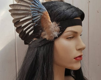 Valkyrie style Beautiful real taxidermy jay bird wings headband, valkyrie, steampunk, festival, party, headpice MADE TO ORDER