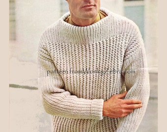 Mans Knitted Pullman Sweater PDF Pattern 323 from WonkyZebra