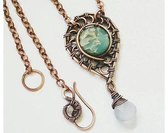 Wire copper necklace, copper wire jewelry, handmade copper necklace, wrapped stone necklace jasper, wire wrapped jewelry necklace wire