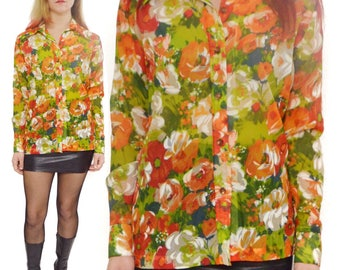 Vintage 80s Teddi of California Floral Button Down Shirt Blouse