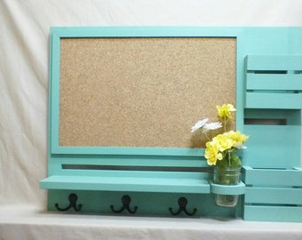 Mail Organizer - Cork Board - Message Center - Coat Rack - Jar Vase – Wood