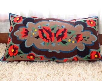 Turkis  decorative embroidered pillow. Vintage  Woolen Pillow Case. Antique Art Folk Pillow.