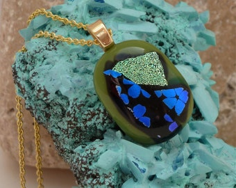 Abstract floral fused glass pendant
