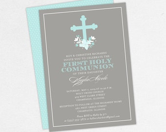 Blue First Communion Invitations, Blue and Gray Communion Invitations, Floral Communion Invitations, Printable Communion Invitations, PDF