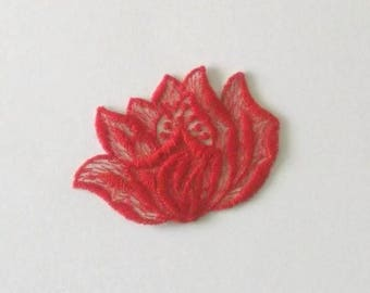 Applique for sew red flower