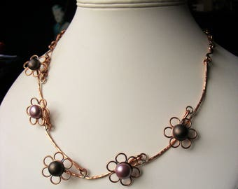 Flower Necklace - Copper Wire - Shell Pearls