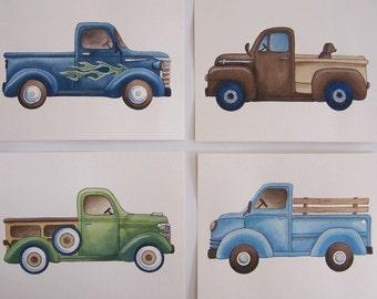 "Trucks boys nursery art, vintage trucks art, pickup truck art prints, blue green transportation nursery set of four 8x10"""