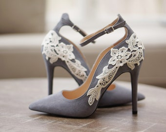 Grey Bridal Shoes,Bridal Heels,Wedding Shoes,High Heels,Wedding Heels,Pumps,Gray Heels,Ankle Strap,Cute,Bridesmaid Shoes with Ivory Lace