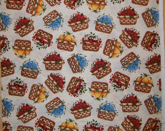 A Fruit Baskets of Blueberries, Strawberries, Cherries, and Pears By Angela Anderson Cotton Fabric By The Yard Free US Shipping