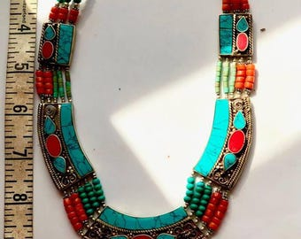 Egyptian inspired inlaid turquoise, coral and beaded necklace