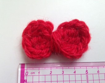 4 red bowties in wool and crochet