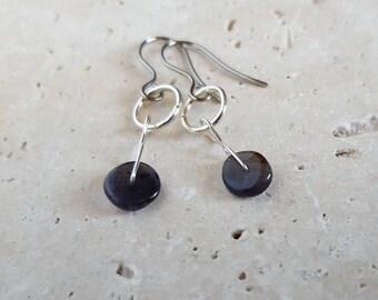 Natural Tanzanite Earrings, Genuine Rare Stone Earrings, December Birthstone, Healing Crystals, Blue Gemstone, Modern, Minimal