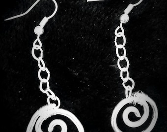 Spiral Dangle Wire-Wrapped Earrings - One Pair