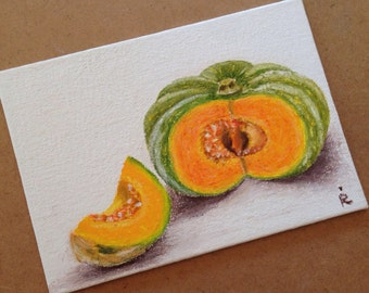 """Original Oil Pastel painting. Still life with a pumpkin. 5""""x7"""" Oil Pastel on a canvas board."""