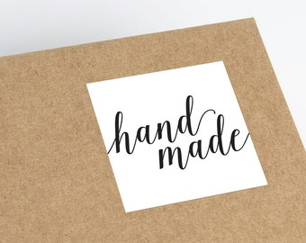 Printable Handmade Stickers - Etsy Stickers - Package Stickers - Package Labels - Etsy Square Stickers - Small Business Thank You Stickers