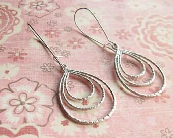 Silver Teardrop Earrings Long and Lightweight modern earrings contemporary jewelry Wedding Jewelry Silver Drop Earrings Statement Earrings