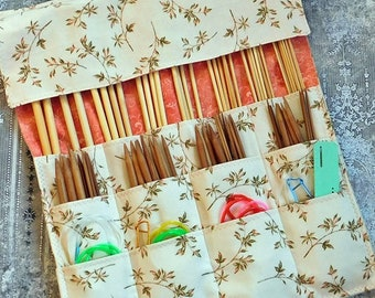 Knitting Needle Case - Needle Storage Case - Needle Case - Circular Needle Storage - Double Pointed Needle Storage - Needle Roll