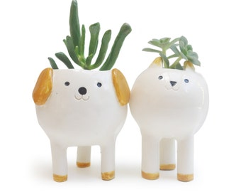 Cute Cat and Dog Planters, Pair of Desktop Plant Pots, White Ceramic Planters