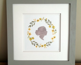 Custom Silhouette (from your photo) - Single Profile Portrait with Watercolor Floral Wreath - 8x8 inch  - Digital File - print yourself -