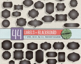 44 digital labels, digital frames, digital clip art, blackboard labels, frame clip art, frame clipart INSTANT DOWNLOAD