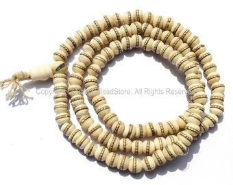 108 beads - Tibetan Prayer Beads - White Bone Mala Prayer Beads with Brass Inlays - Mala Making Supplies - PB72