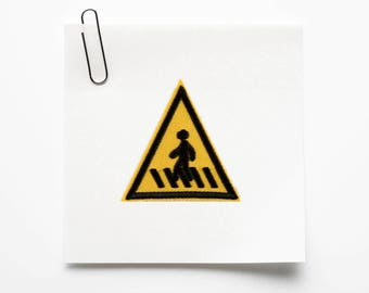 Traffic Sign Iron on Patch, Traffic Sign Embroidered Patch- Size 2''W X 2.08'' H