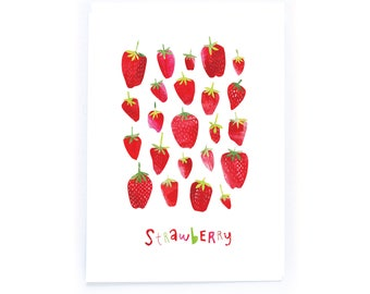 Archival Digital Print Acrylic Collage Illustration - Strawberry
