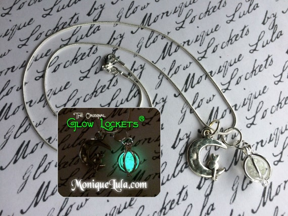 Cat on the Moon Glowing Orb Necklace with Free UV Light Charger