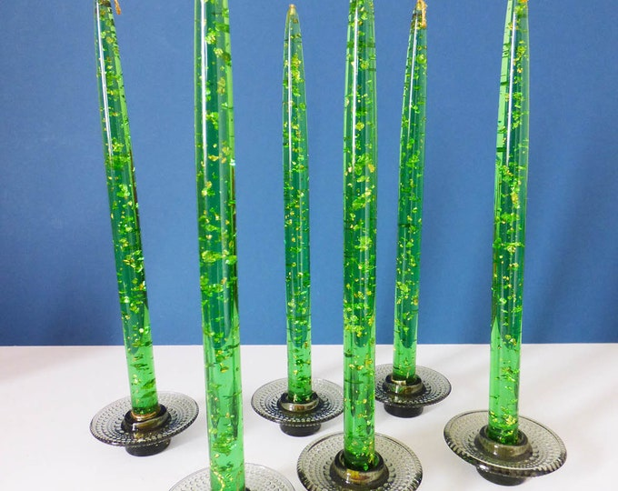 Resin Candles Imitation with gold leaf x 2 vintage