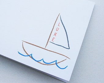 Kids' Stationery -- Personalized Notes -- L U K E -- Set of Custom Notes & Envelopes in White- CHOOSE your QUANTITY