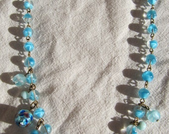 Vintage Glass Beads Necklace Blue Rondelle Rhinestones