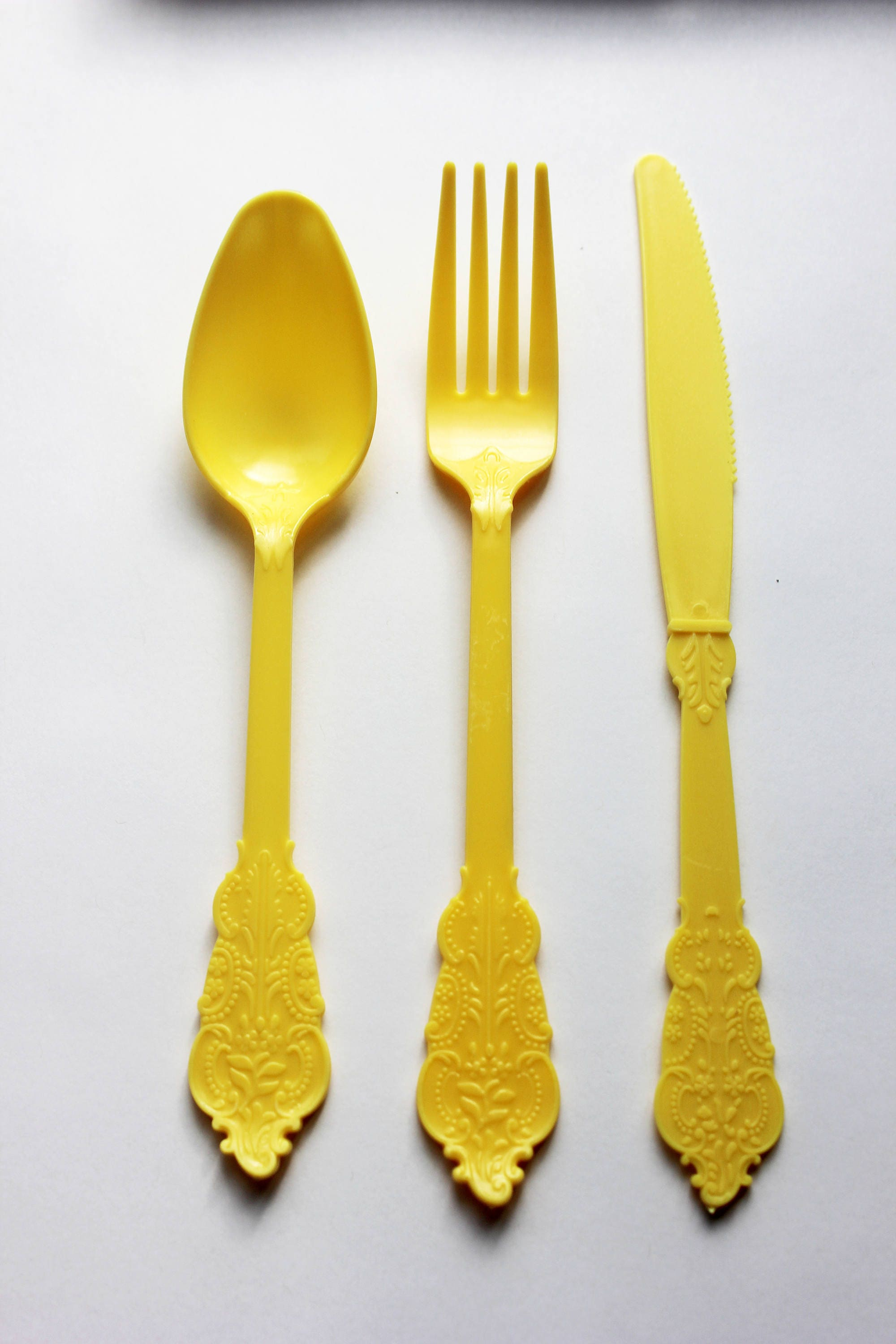 24 ASSORTED YELLOW Cutlery Plastic Forks Spoons Knives