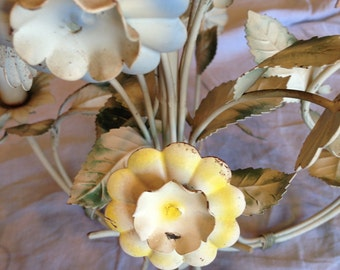 1950 tole chandelier etsy 1950s italian tole chandelier in soft creamy colors in perfect vintage patina mozeypictures Image collections