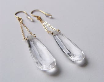 Diamond Gemstone Chain Gold Earrings