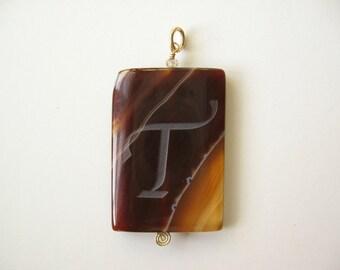 Initial T Agate pendant stone