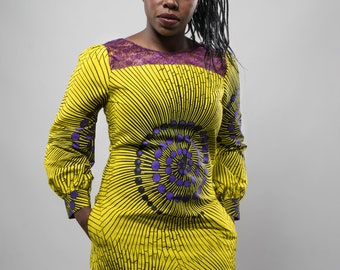 Ankara dress, Short dress, Ankara and lace shift dress, yellow African print corporate or casual dress with lantern sleeves