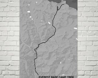 Everest Base Camp Trail Map, Everest Trek Print, Mount Everest Sign, Mt. Everest Map, Everest Poster, Hiking Wall Art, Nepal, Hiking Gifts