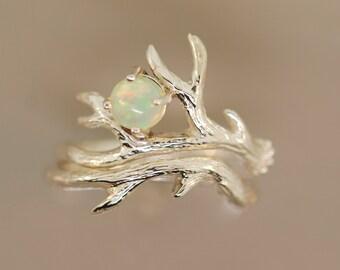 Opal Antler 2 Set, sterling silver antler ring,alternative engagement ring, twig ring,welo Opal ring,Ethiopian opal twig ring,antler ring