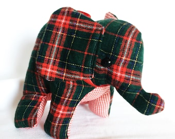 Green Wool Plaid Stuffed Elephant Plushie - Ready to Ship