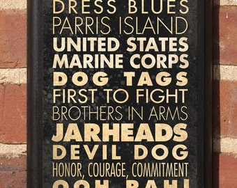 US Marine Corps Life Phrases Wall Art Sign Plaque Gift Present Home Decor Vintage Style Classic USMC Semper Fi Jarheads few proud crucible