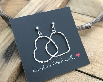 Textured Wire Heart Earrings