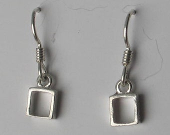 Tiny Sterling Silver Square Earrings