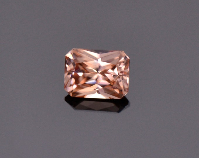 Peachy Pink Champagne Zircon Gemstone from Tanzania, 2.14 cts., 7.5 x 5.7 mm., Radiant Emerald Cut