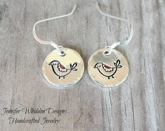 Bird Earrings- Bird Jewelry - Silver Bird Earrings- Sterling Silver Earrings- Hand Stamped Jewelry